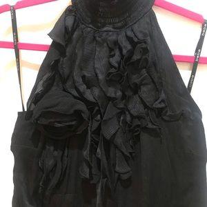 Bebe Halter Ruffle 100% Silk Black Top Medium.